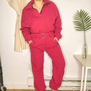 80s ROFFE Pink Retro Legend Star Belted Snow Suit